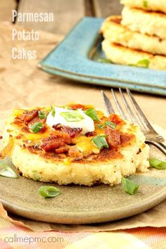Mashed Parmesan Potato Cakes have a crispy outside and fluffy, creamy inside.