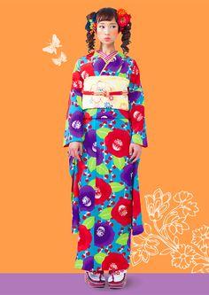 Kimono Hearts Retro Fashion Line Kimono Japan, Yukata Kimono, Kimono Dress, Quirky Fashion, Asian Fashion, Retro Fashion, Japanese Geisha, Japanese Kimono, Traditional Kimono