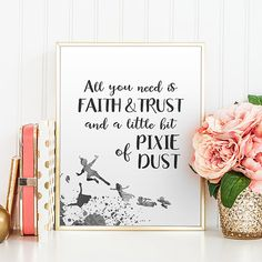 Neverland quote print All you need faith and trust Peter Pan