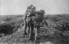 Wounded coming in at the Battle of Vimy Ridge.