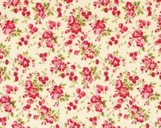 Pirouette Verna Mosquera Fabric Climbing Rose on Opal Ivory Cream Hot Pink Vine Roses