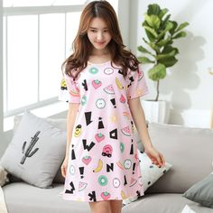 summer Women Cotton Cartoon print dress shorts sleeve Nightgowns Cute Girl Sleepwear Nightdress nightwear Homewear high quality #Affiliate