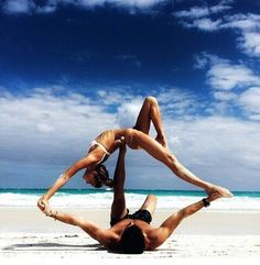 Acro yoga on the beach. Yogi Goals & Yoga Inspiration.