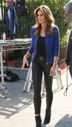 Cindy Crawford in her J BRAND L8001 Leather Super Skinny in Noir.