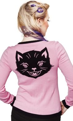 Sourpuss Kitten Kitty Cat Pink Cardigan Sweater Rockabilly Pinup Vintage 50'S | eBay
