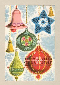 ~ Vintage Christmas Card, Christmas Ornaments ~ | eBay
