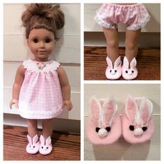 3e2df5cc2b5c Bunny rabbit slippers made to fit Bitty Baby white faux fur