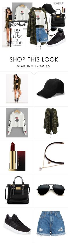"""Drop Shoulder American Flag Print Hoodie"" by liviagb ❤ liked on Polyvore featuring Kevyn Aucoin, adidas, Nobody Denim, romwe and contestentry"