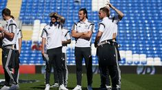 Wales players inspect the pitch prior to their UEFA EURO 2016 qualifier against Israel