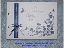 Gästebuch Hochzeit,Schraubalbum,Blau,Blüten, 70 SA