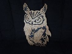 owl majesty, made from 1/8 Baltic birch plywood, same for the backer. has a natural stain and gloss lacquer applied. You can visit my shop@ etsy.com DaveSawdustFactory Thank you