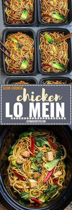 Crock pot Slow Cooker Chicken Lo Mein makes the perfect easy Asian-inspired weeknight meal! Best of all, takes only 15 minutes to put together with the most authentic flavors! So delicious and way better than any Chinese takeout! Leftovers make great lunch bowls or for your weekly meal prepping for school or work lunches and even dinner!