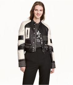 Leren jack met studs | Zwart/wit | Dames | H&M NL