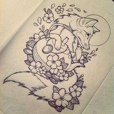 fox illustration tattoo - Google Search