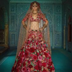 Sabya The 'Dil-guldasta' lehenga. The lehenga is intricately embroidered on Bordeaux silk with hand-dyed velvet appliques, silk-floss, beaten… Red Wedding Lehenga, Sabyasachi Lehenga Bridal, Floral Lehenga, Lehenga Skirt, Red Wedding Dresses, Indian Wedding Outfits, Indian Outfits, Anarkali, Churidar