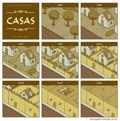 Pedro Leite, nos seus quadrinhos ácidos, tratou da evolução das cidades.