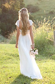 Beautiful low back wedding dress with lace capped sleeves | Grace Loves Lace on Etsy]