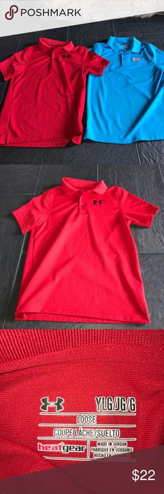 Under Armour Polo Bundle- Set of 2 Both are worn few times and in good condition. One is a red polo with black stitching and other is a sky blue with orange stitching.  Be sure to check out all of my other listings! I accept reasonable offers. Thanks for viewing my item! Under Armour Shirts & Tops Polos