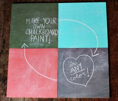 chalkboard paint diy- Did this yesterday using latex paint and it worked like a hot damn!  Super easy! I am prowling around the house as we speak looking for more surfaces to transform into chalkboard!