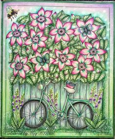 A garden bicycle from #blomstermandala by #mariatrolle Finally start my adventure with staedler triplus fineliners (stored for a year) used #fabercastellpolychromos #prismacolorpremier #prismacolorpencils #staedlertriplusfineliner #poscawhite #colouringbook #adultcoloringbook #artecomoterapia #arte_e_colorir #blomstermandalamålarbok