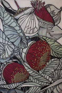 Acrylic on canvas by Julie Hickson Botanical Drawings, Botanical Art, Botanical Illustration, Australian Native Flowers, Australian Art, Australian Wildflowers, Zentangle, Textile Prints, Art Prints