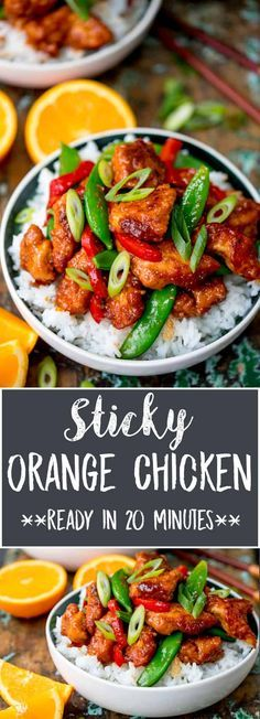 My copycat Panda Express Orange Chicken is sticky, sweet and tangy. Succulent chicken pieces with a crispy coating and plenty of that delicious sauce. Ready in 20 minutes too! #Glutenfree option. #quickdinner #chinesechicken #orangechicken #copycatrecipe #asianchicken #stickychicken via @kitchensanc2ary