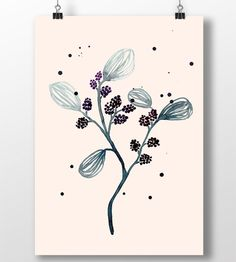 """I love summer purple blackberries, which always tastes great  It is printed on 250 g. quality paper  Frame not included  Signed by the artist and shipped in a protective card tube  Size 29,7 x 42 cm (A3)  Marenberg is a small design studio established in Copenhagen by illustrator Maria Klingenberg.  <b>Website</b> <a href=""""http://www.marenberg.dk"""" target=""""_top"""">Marenberg</a> <b>Follow me on</b> <a href=""""http://www.facebook.com/marenberg.dk"""" target=""""_top"""">Facebook</a>"""