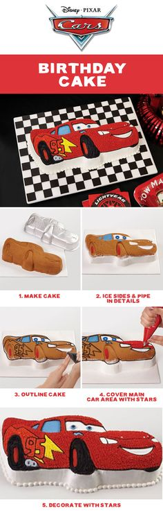 Take a victory lap when you serve this Lightning McQueen cake at the next birthday party! Use the Cars Lightning McQueen Cake Pan for a cake with the details baked right in. Decorating is easy when you follow these step-by-step instructions and use Wilton's Ready-To-Use Decorator Icing and Icing Colors.
