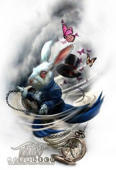 Alice im Wunderland Tattoo Entwurf