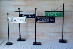 Custom New Orleans Street Sign Table Numbers by CathysCustomPrints This would be easy to duplicate with different street names from New Orleans New York Theme Party, New Orleans Party, New Orleans Wedding, Mardi Gras Decorations, Wedding Decorations, Custom Street Signs, Broadway Theme, Mardi Gras Party, Bourbon Street