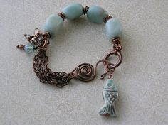 Fish Bracelet Natural Stone Bracelet by SharonWiselyJewelry Or kyanite and copper