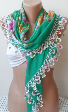 Mothers day gifts, modern scarf, Yemeni scarf, Oya scarf, Crochet scarf, Anatolian, Traditional Turkish scarf,Cotton, green scarf, Square    Thank