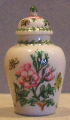 Portmeirion Botanical Temple Jar Pink by Christopher Whitford - $59.00 : Swan House Miniatures, Artisan Miniatures for Dollhouses and Roomboxes