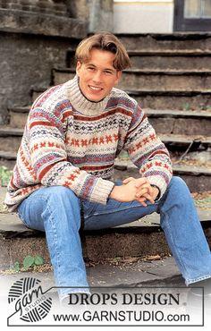 DROPS sweater i Silke-tweed og Camelia med nordiske mønsterborter i dame og herre str ~ DROPS Design