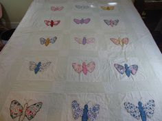 Vintage applique butterfly quilt.