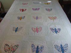 Vintage applique butterfly quilt.