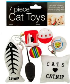 "Cat Toys Set Case Pack 4 - Cat Toys SetKeep your cat busy for hours with this fun 7-piece Cat Toys set featuring an assortment of toys that all cats will want to play with. set includes a rainbow foam ball a squeaky mouse a whiffle ball with a bell inside a clear ball with a spinning cat/fish disk inside a wheel with a bell inside and two stuffed canvas catnip toys with elastic cords and bells. Comes packaged in a poly bag with a header card."""" Case Pack 4  Please note: If there is a…"