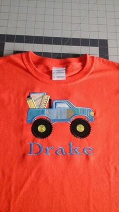 Back to School Applique Truck - Can be any done in any colors. Toddler Sizes 2T,3T,4T, 5T and Childrens Sizes S,M,L,XL