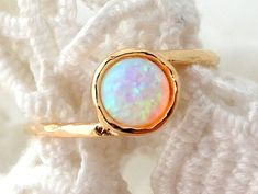 SALE White Opal ring Gemstone ring stacking by EldorTinaJewelry, $29.00