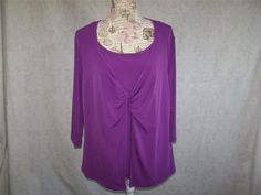 JMS Shirt Top Plus 2X Purple Two Fer Spandex Stretch 3/4 Sleeves Womens 18/20W #JMS #KnitTop #Casual