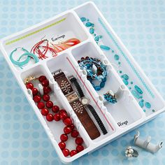Try these creative ideas for organizing jewelry and for keeping it sorted, tidily untangled, and ready for accessorizing./