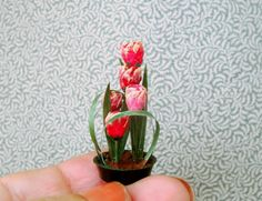 SOLD at online mini show....Ikebana Tulip by beauxminis on Etsy
