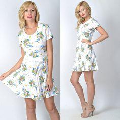 Vintage 60s 70s White Mod Mini Dress Floral by thekissingtree