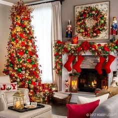 Last Trending Get all hobby lobby christmas decorations Viral r a Christmas Fireplace, Christmas Room, Christmas Mantels, Noel Christmas, Green Christmas, Xmas, Victorian Christmas, Vintage Christmas, Christmas Quilting