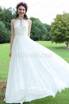 eDressit White Beaded Halter Wedding Evening Dress (01171107)