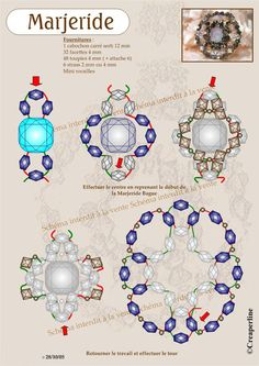 MARJERIDE Ring by MU - FREE Pattern. Use: 1 square cabochon about 12mm, 32 faceted beads 4mm, 48 (+6)  bicone beads 4mm, 6 strass (/Swarovski montées) 2 or 4mm, mini seed beads (15/0). In the last step on this page: turn upside down and add the faceted beads and seed beads. Page 1 of 2