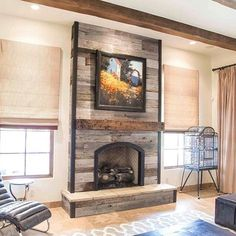 Reclaimed Wood Fireplace It Would Be Easy To Cover The Ugly Brick