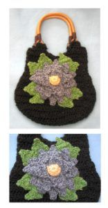 Black Purse with Flower by Donna Collinsworth of Donna's Crochet Designs