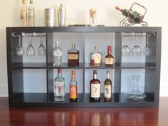 DIY Bar: Just Finished! Got the shelf from Ikea and Wine hooks from Amazon
