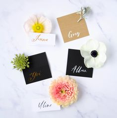 Beautiful hand lettering tented name cards that can be used for any occasion (wedding or special events). Name Cards, Thank You Cards, Brush Lettering, Hand Lettering, Wedding Favors, Wedding Day, Calligraphy Envelope, Tent Cards, Addressing Envelopes